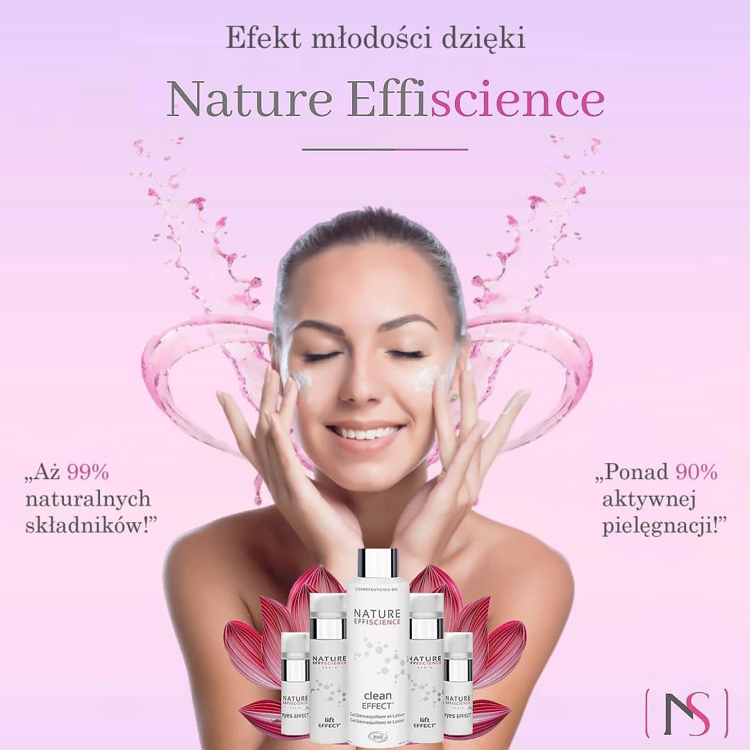 Grafika przedstawiająca uśmiechniętą kobietę z dermokosmetykami do twarzy Nature Effiscience